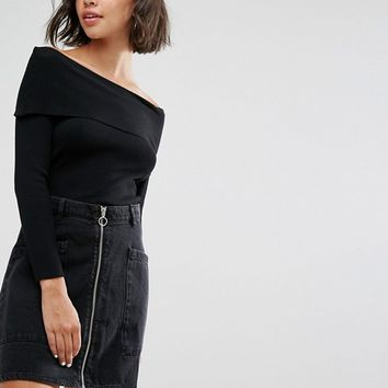 Pull&Bear Bardot Jersey Sweater at asos.com