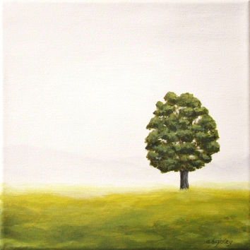 "Tree Painting, Original Landscape Art, Lone Green Tree in Field, Nature Home Decor, Grey Fog, Mist, Gray, Green Grass, Acrylic 10"" X 10"""