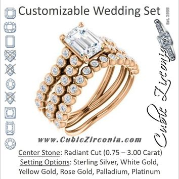 CZ Wedding Set, featuring The Roxana engagement ring (Customizable Radiant Cut Design with Beaded-Bezel Round Accents on Wide Split Band)