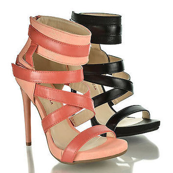 Donati Pink Pu By Shoe Republic, Open Toe Gladiator Small Platform Stiletto Heel Sandals