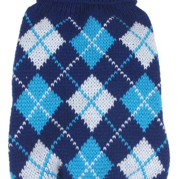 Argyle Style Ribbed Fashion Pet Sweater - Black/Blue Argyle: X-Small