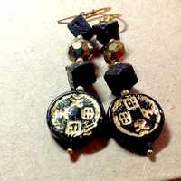 Black & Gold Lava Bead Earrings with Asian Medallion - square black lava beads and gilded czech glass beads - 14kt gold filled - chinese