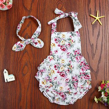 Newborn Baby Girls Floral Sleeveless Bodysuit Ruffles Backless Halter Jumpsuit and Headband Outfits Sun suit