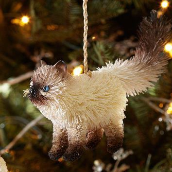 Bottlebrush Siamese Cat Ornament
