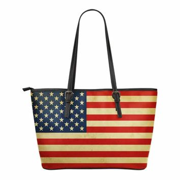 American Distressed Flag Leather Tote Bag