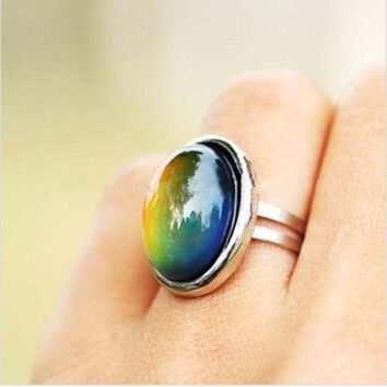 2016 Crystal Jewelry Changing Color Mood Ring Temperature Emotion Feeling Rings Mood Adjustable Size Gifts Event Party Supplies