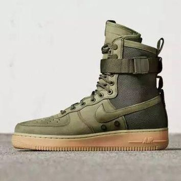 ESBBE6 Nike Air Force 1 Af1 High Tops Green For Women Men Running Sport Casual Shoes Sneakers