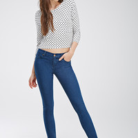 Tonal-Topstitched Skinny Jeans