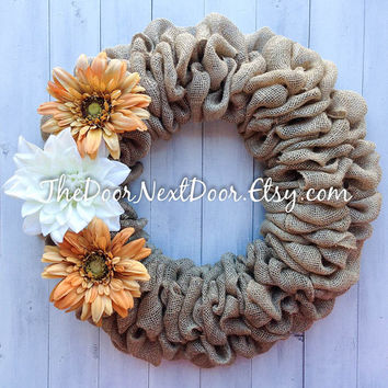 Sunflower Burlap Wreath - Summer Wreath - White and Burnt Orange Decor - Year Round Wreath