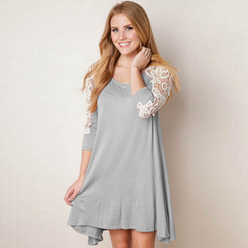 Autumn Lace Mosaic Long Sleeve Irregular One Piece Dress [6032484801]
