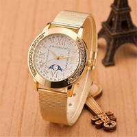 Womens Girls Classic Casual Sports Watches with Diamond Gold Alloy Strap Watch Best Christmas Gift 396