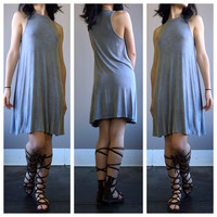 An Acid Wash Tee Dress in Silver Stone