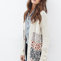 Geo-Patterned Longline Cardigan