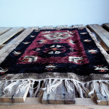 Vintage hand woven persian rug, Moroccan with fringe, bohemian rug, entry way rug, small carpet, handmade, soft, luxurious, pile, neutral