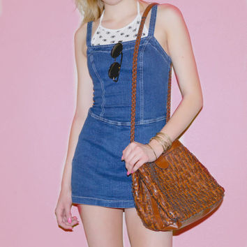 Vintage Denim Jean Dress/Skort With Straps- Size Small