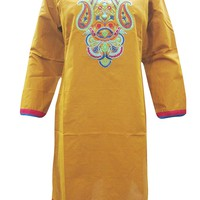 Indian Boho Yellow Cotton Designer Tunic Dress Paisley Embroidered Kurti S: Amazon.ca: Clothing & Accessories
