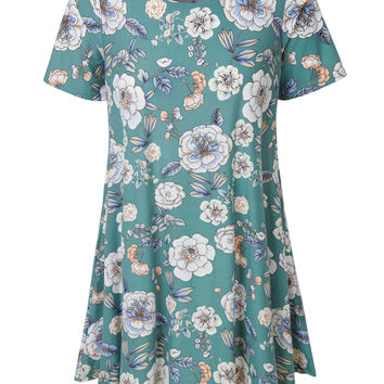 LE3NO Womens Oversized Floral Print Short Sleeve Flared Tunic Dress with Pockets