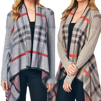 Heather Grey Plaid Cardigan Burberry Inspired