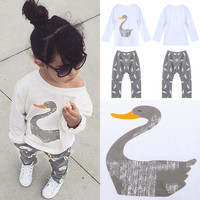 Cute Toddler Kids Baby Girls Clothes Cotton Goose T-shirt Tops Long Pants Trousers 2PCS Outfits Clothing Set 2-7T
