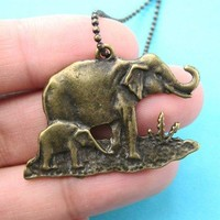 Elephant Mother and Baby Animal Pendant Necklace in Bronze on SALE
