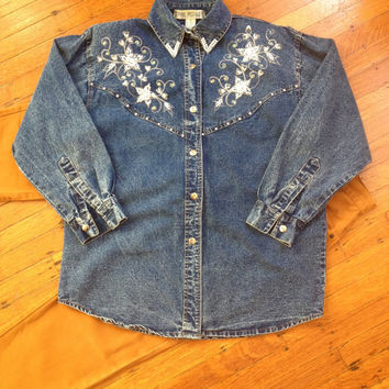 Vintage Jane Ashley Denim Blue Jean Acid Wash Beaded Sequins Button Up Shirt or Jacket with Shoulder Pads Size Small