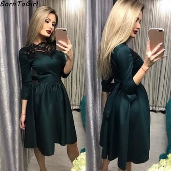 BornToGirl Autumn Winter Vintage Slim Lace Stitching Three-Quarter Sleeve Women Dress European Female Dresses robe femme