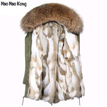 2017 parkas long winter jacket new fashion woman luxurious raccoon fur collar hooded coat with thick real rex rabbit fur liner