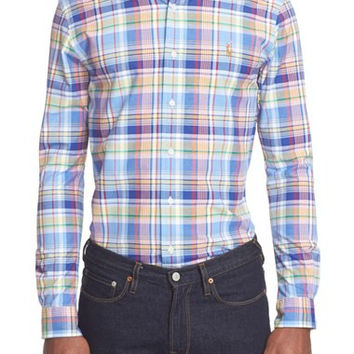 Slim Fit Madras Plaid Sport Shirt