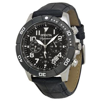 Invicta Signature II Chronograph Black Dial Leather Strap Mens Watch 7345
