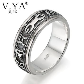 V.YA Brand Sterling SilverJewelry Six Words Vintage Silver Mantra Rings for Men Pestle Luck Ring 925 Sterling Silver Men Ring