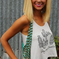 """Stay Strong and Beautiful"" Cactus Crop Top"