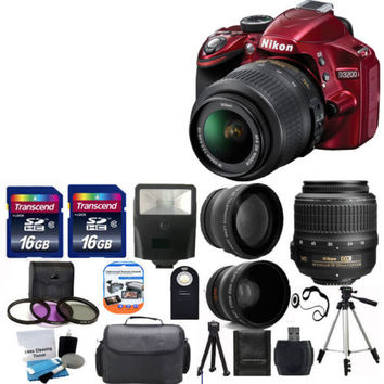Nikon D3200 24MP DSLR Camera Red w/ 18-55mm VR Lens + 32GB TOP VALUE Kit!