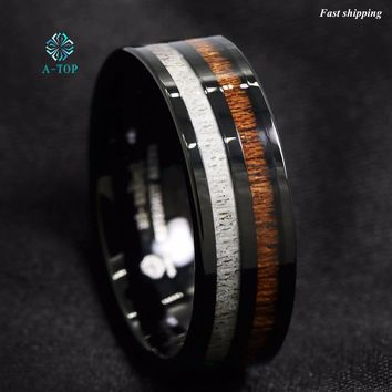 Black Tungsten Carbide Ring Deer Antler and Koa Wood Inlay MENS Ring