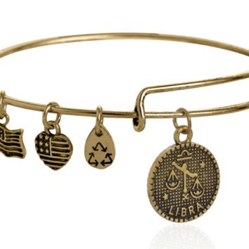 Alex and Ani style 12 constellation Bracelet,Libra pendant charm bracelet