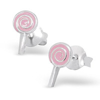 .925 Sterling Silver Hypoallergenic Pink Candy Lollipop Earrings for Girls (Nickel Free) --With Gift Box --