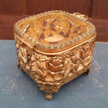 Vintage Gold Toned Filigree Footed Rose Trinket Box With Glass Top and Padded Bottom Perfect for Display