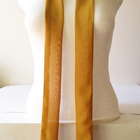 Mustard Yellow Skinny Scarf, Long Thin Scarf with Angled Ends, Crepe Chiffon Bow Tie Scarf, Choker Scarf, Neck Tie, Fashion Accessories