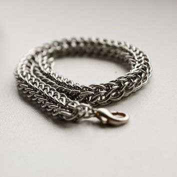 Silver Men Bracelet, Chainmail bracelet, metallic unisex bracelet, chainmaille jewelry, gift for him, gift for her