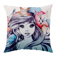Little Mermaid Painting Pillow Cover
