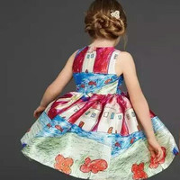 New Fashion Summer Children Girls Sleeveless House Printing Princess Dress Europe Style Party Dresses 5 Pcs/Lot