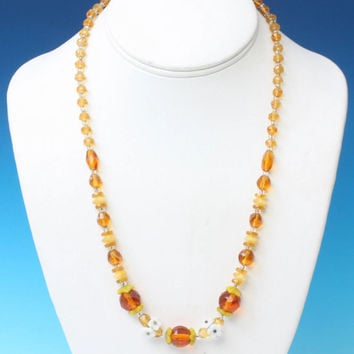 Czech Bohemian Amber Glass Bead Necklace Floral Accents Vintage
