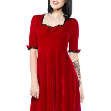 Velvet Sweetheart Dress in Crimson - PLASTICLAND