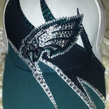 Philadelphia Eagles Women's Ladies Rhinestone Ultra Bling NFL Cap Hat ~NEW~