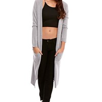 Peighton Longline Soft Cardigan in Grey