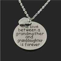 Family Necklace Pendant The Love Between Grandmother and Granddaughter Love