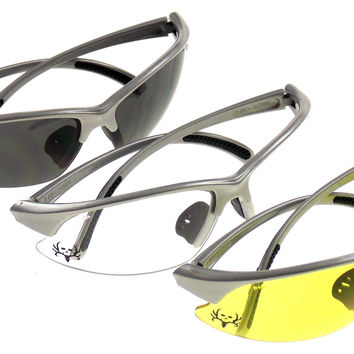 Bone Collector 3 Pair Amber Smoke Clear Lens Safety Glasses Hunt Shoot BCTR60