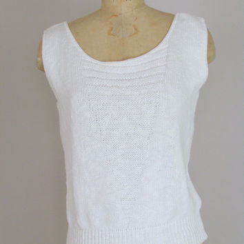 sleeveless knit sweater top / 1980s vintage / white cotton knit top