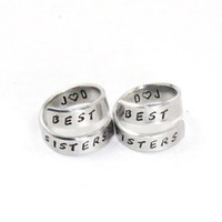 Personalized Best Sister Ring Set, Best Friend Initials Match Rings, BFF Hand Made Aluminum Ring, Sisters Besties Jewelry Wrap Rings