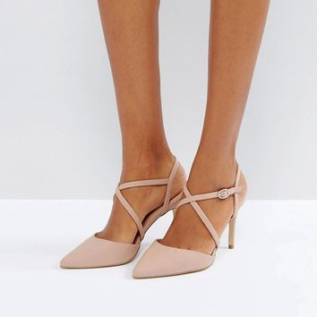 New Look Cross Strap Heeled Court Shoe at asos.com