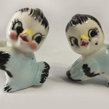 Vintage Blue Chickadee Candle Huggers, Ceramic Bird Taper Holders, Spring Home Decor
